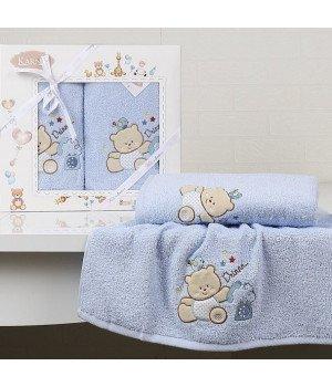 "Комплект полотенец ""KARNA"" детский BAMBINO-BEAR Голубой 50x70-70х120"