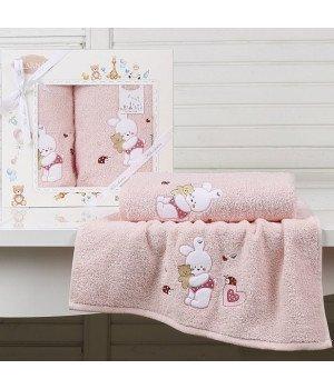 "Комплект полотенец ""KARNA"" детский BAMBINO-BUNNY Розовый 50x70-70х120"