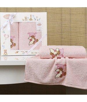 "Комплект полотенец ""KARNA"" детский BAMBINO-TEDDY Розовый 50x70-70х120"