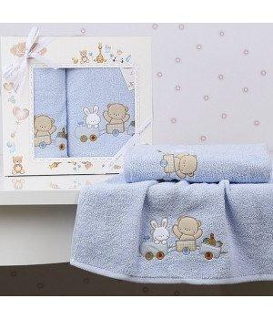 "Комплект полотенец ""KARNA"" детский BAMBINO-TRAIN Голубой 50x70-70х120"