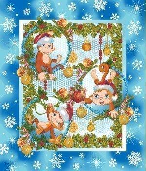 Полотенце вафельное Веселые обезьянки 50х60