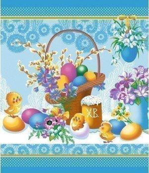 Полотенце вафельное Светлый праздник голубое 50х60