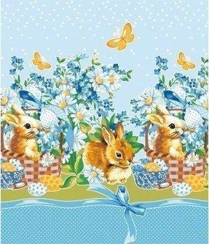 Полотенце вафельное Кролик пасхальный-1 голубое 50х70