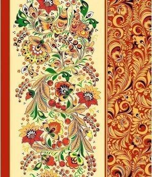 Полотенце вафельное Хохломские узоры красное 50х70