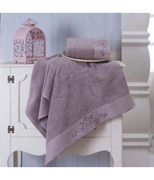 """Комплект махровых полотенец """"KARNA"""" VELSEN Фиолетовый 50x90-70х140"""