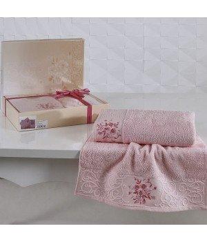 """Комплект махровых полотенец """"KARNA"""" VIOLA Светло-розовый 50x90-70х140"""