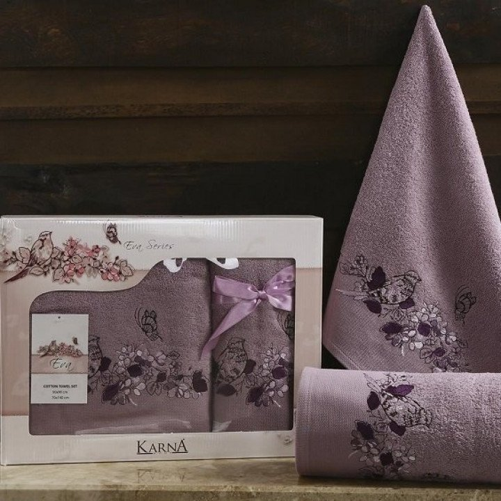 """Комплект махровых полотенец """"KARNA"""" EVA Фиолетовый 50x90-70х140"""