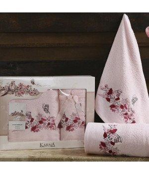"""Комплект махровых полотенец """"KARNA"""" EVA Светло-розовый 50x90-70х140"""