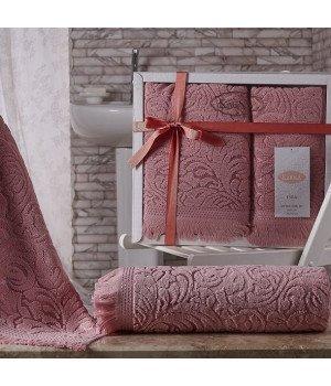 """Комплект махровых полотенец """"KARNA"""" ESRA Розовый 50x90-70х140"""