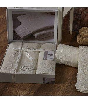 """Комплект махровых полотенец c гипюром """"KARNA"""" ELINDA Кремовый 50x90-70х140"""