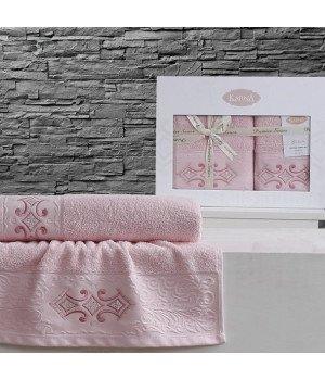"""Комплект махровых полотенец """"KARNA"""" GALATA Розовый 50x90-70х140"""
