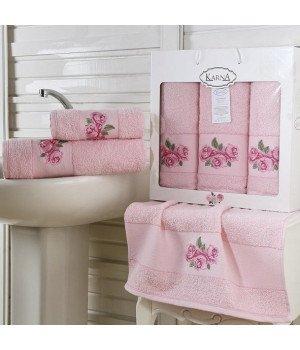 "Комплект махровых полотенец ""KARNA"" HAVIN Розовый 50x90*2-70х140*1 1/3"