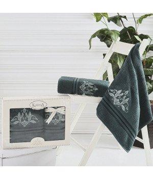 "Комплект махровых полотенец ""KARNA"" AGRA Темно-зеленый 50x90-70х140 1/2"