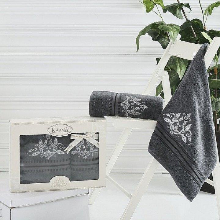 "Комплект махровых полотенец ""KARNA"" AGRA Темно-серый 50x90-70х140 1/2"