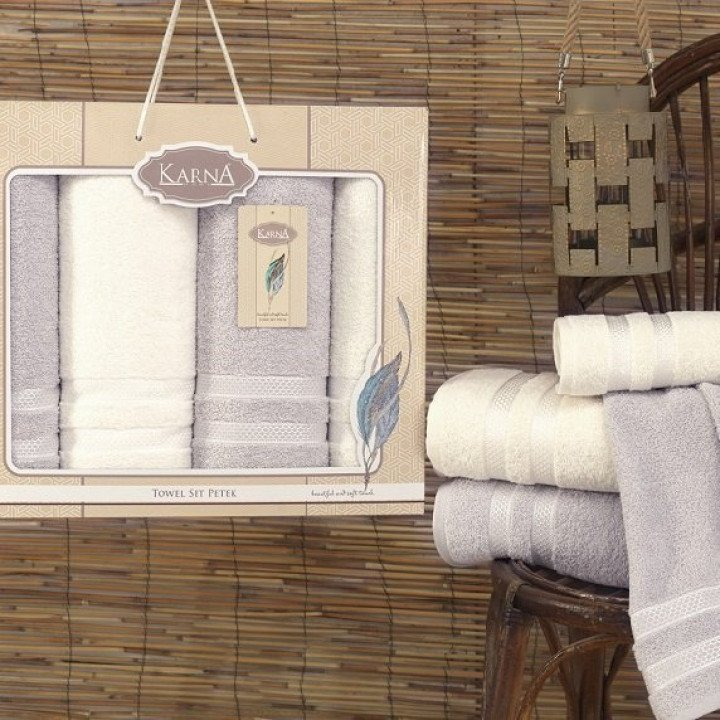 """Комплект махровых полотенец """"KARNA"""" PETEK Кремовый - Серый 50x100*2-100x150*2 1/4"""