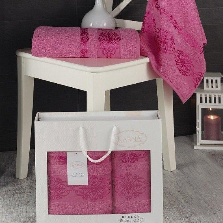 """Комплект махровых полотенец """"KARNA"""" REBEKA Розовый 50x90-70х140 1/2"""