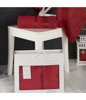"""Комплект махровых полотенец """"KARNA"""" REBEKA Красный 50x90-70х140 1/2"""