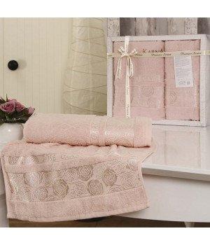 """Комплект махровых полотенец """"KARNA"""" ROSE GARDEN Светло-розовый 50x90-70х140"""