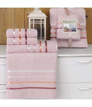 "Комплект махровых полотенец ""KARNA"" BALE Светло-розовый 50х80*2-70х140*2 1/4"