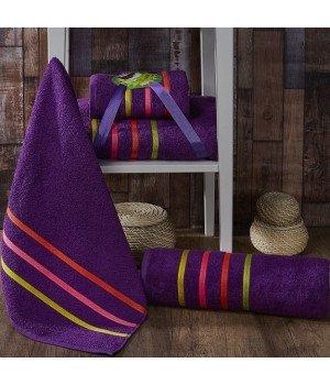 "Комплект махровых полотенец ""KARNA"" BALE NEON Фиолетовый 50х80-70х140"