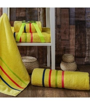 "Комплект махровых полотенец ""KARNA"" BALE NEON Желтый 50х80-70х140"