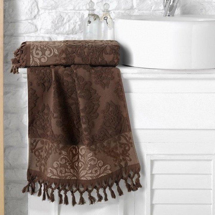 """Полотенце махровое жаккард """"KARNA"""" OTTOMAN Темно-коричневое 70x140"""