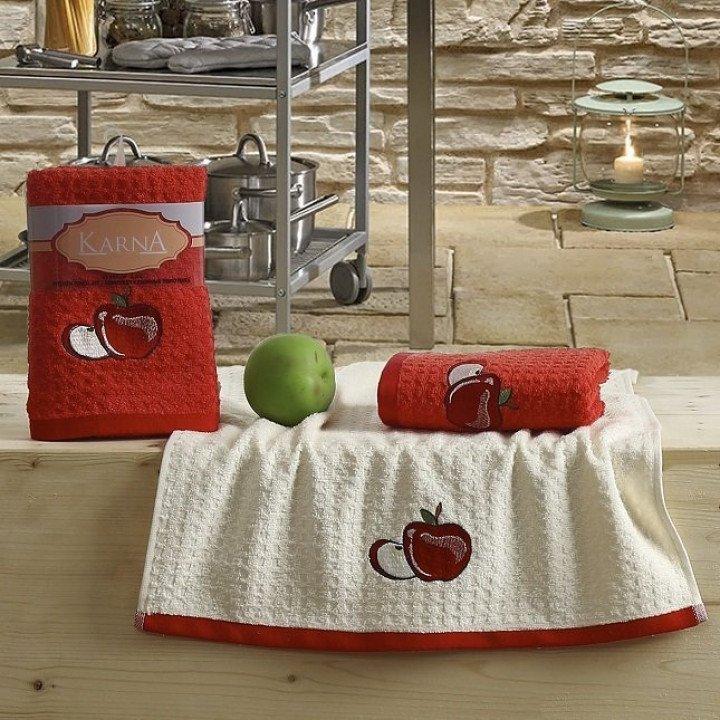 "Кухонные полотенца ""KARNA"" LEMON Красный V1 45x65 1/2"
