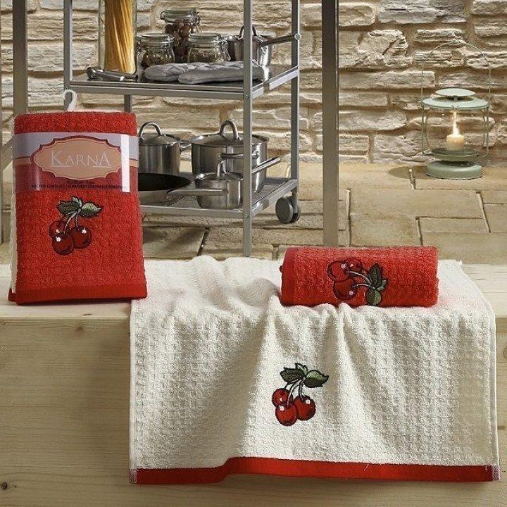 "Кухонные полотенца ""KARNA"" LEMON Красный V2 45x65 1/2"