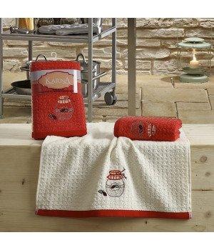 "Кухонные полотенца ""KARNA"" LEMON Красный V3 45x65 1/2"