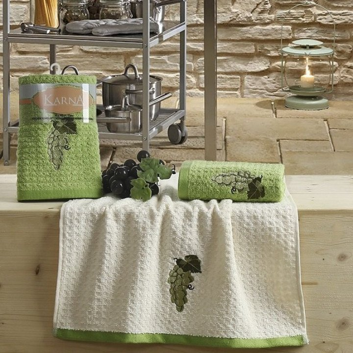 "Кухонные полотенца ""KARNA"" LEMON Зеленый V1 45x65 1/2"