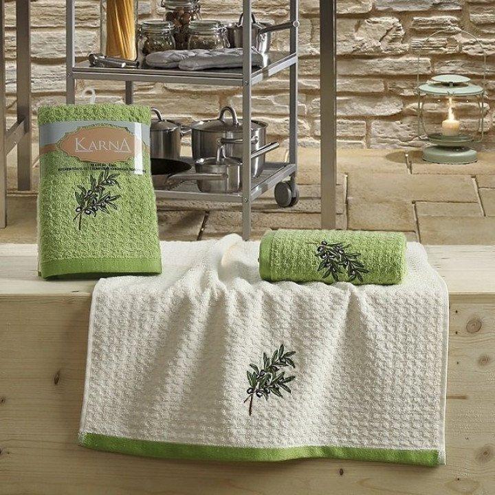 "Кухонные полотенца ""KARNA"" LEMON Зеленый V2 45x65 1/2"
