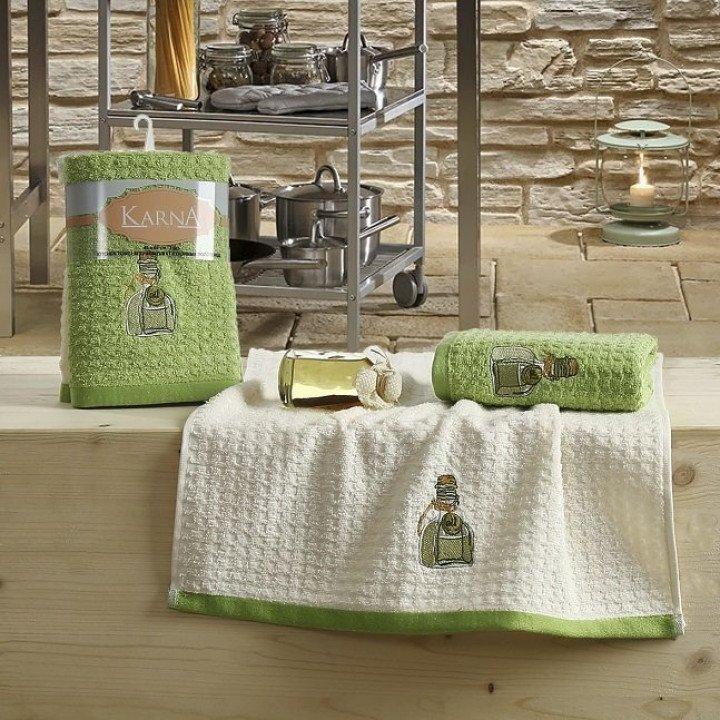 "Кухонные полотенца ""KARNA"" LEMON Зеленый V3 45x65 1/2"
