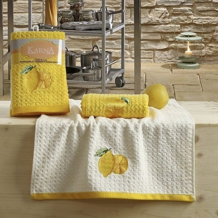 "Кухонные полотенца ""KARNA"" LEMON Желтый V1 45x65 1/2"