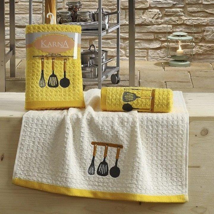 "Кухонные полотенца ""KARNA"" LEMON Желтый V2 45x65 1/2"