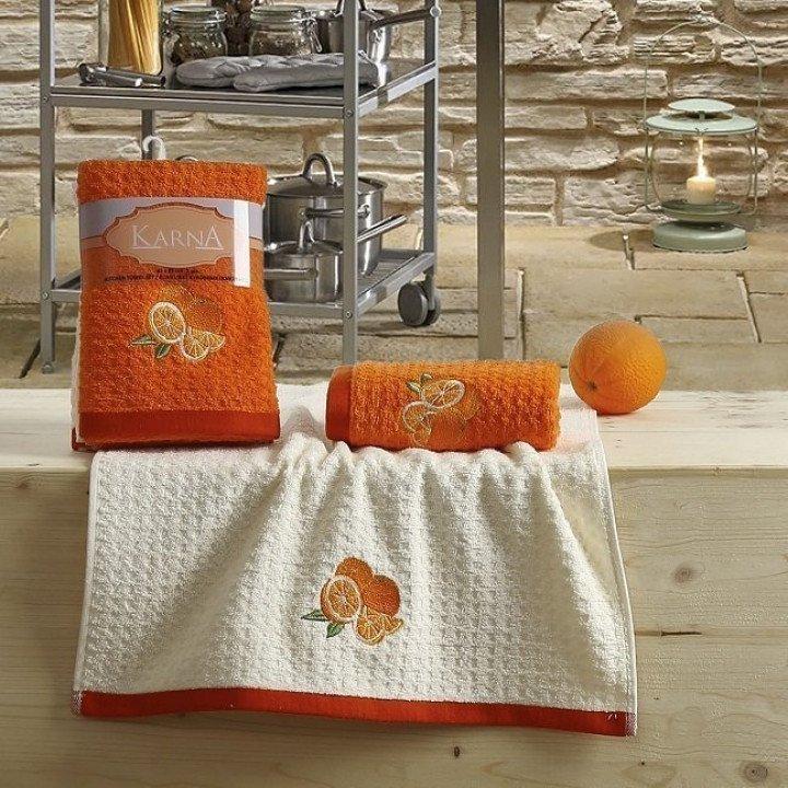 """Кухонные полотенца """"KARNA"""" LEMON Оранжевый V1 45x65 1/2"""