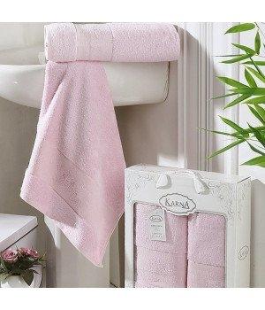 "Комплект полотенец бамбук ""KARNA"" PANDORA Светло-розовый 50х90-70х140 1/2"