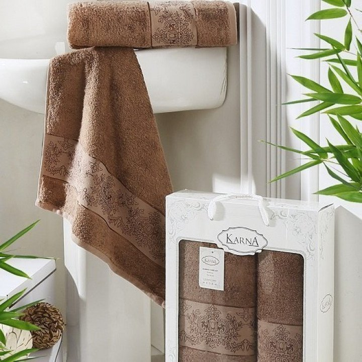"Комплект полотенец бамбук ""KARNA"" PANDORA Коричневый 50х90-70х140 1/2"