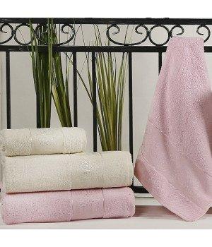"""Комплект полотенец бамбук """"KARNA"""" PANDORA Кремовый - Светло-розовый 50х90*2-90x150*2 1/4"""