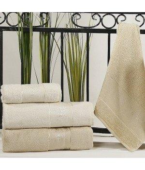 """Комплект полотенец бамбук """"KARNA"""" PANDORA Кремовый - Бежевый 50х90*2-90x150*2 1/4"""