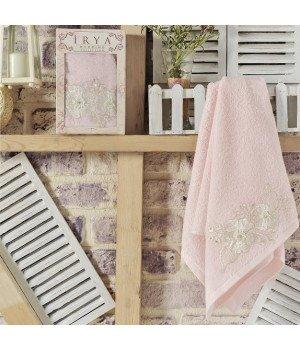 """Полотенце махровое с гипюром """"IRYA"""" FLEUR Розовое 50x90"""