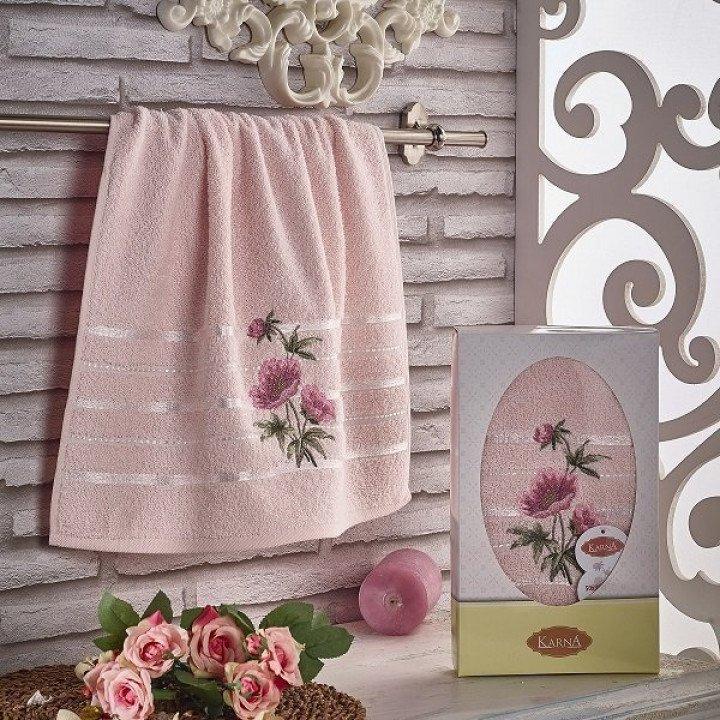 """Полотенце махровое с вышивкой """"KARNA"""" ROZENYA Розовое 50x90"""