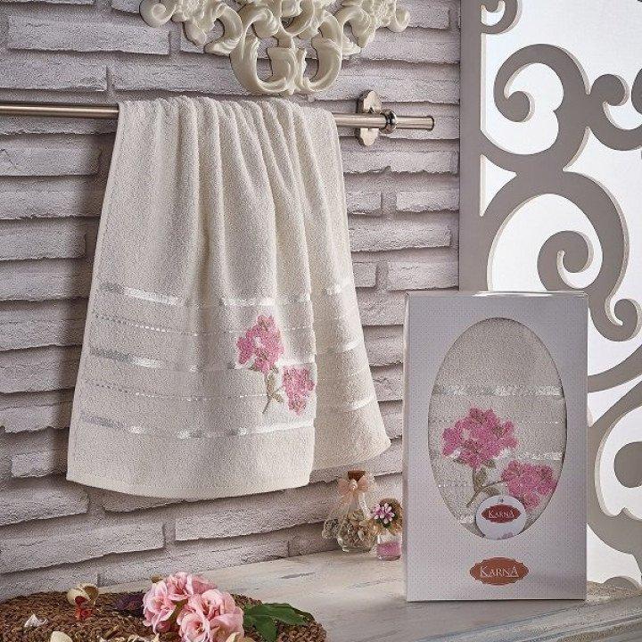 """Полотенце махровое с вышивкой """"KARNA"""" SISLEY Кремовое 50x90"""