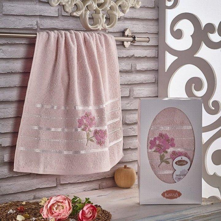 "Полотенце махровое с вышивкой ""KARNA"" SISLEY Розовое 50x90"