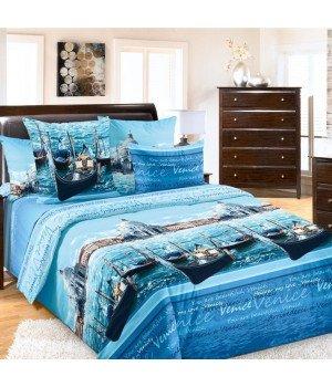 Постельное белье бязь Венеция 1 голубое - семейное, 6100Б