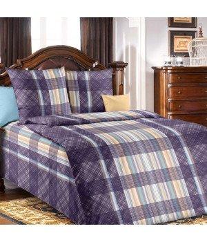 Постельное белье бязь Вертикаль 1 синее - 1,5 спальное, 1100А