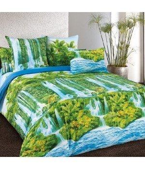 Постельное белье бязь Водопад - 2 спальное с европростыней, 3100Б