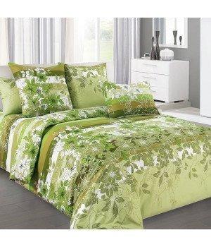 Постельное белье бязь Бьюти 2 зеленое - семейное, 6100Б