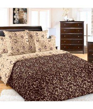 Постельное белье бязь Вензель 1 коричневое - 2 спальное, 2150Б