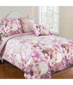Постельное белье бязь Амалия 2 розовое - евро, 4100Б