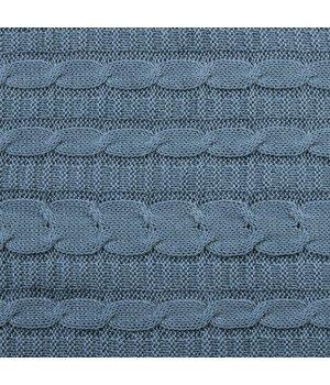 Плед вязаный Серо-голубой 140х180